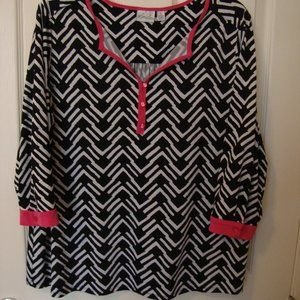 Kim Rogers 3/4 Sleeve Black/White/Hot Pink Top EUC